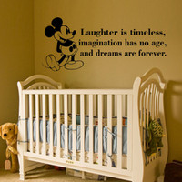 baby room wall decals quotes - Mickey Mouse Quote Wall Decal laughter is timeless waterproof Vinyl Wall Sticker for Baby Room Decor