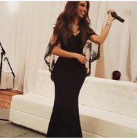 A-Line bats pictures - Arabic Myriam Fares Black Lace Bat Sleeves Mermaid Evening Dresses vestido de festa Fashion New V Neck Arabic Formal Prom Gowns BA0648