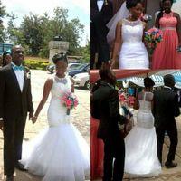 Wholesale White Lace Mermaid Wedding Dresses Vintage Sheer Crew Neckline Applique Beads African Bridal Gowns Vestidos De Novia
