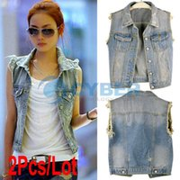 Wholesale Cheap Womens Casual Retro Washed Sleeveless Personalized Cardigan Jeans Denim Vest Waistcoat Coat Jacket Sizes