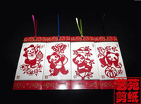 Wholesale Unique Fine Panda Bookmarks of Sets Handicraft Paper Cut Chinese Characteristic Gift Chinese English introduction Sets Free