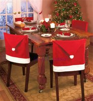 Wholesale Christmas Santa Clause Red Hat Chair Back Covers for Party Dinner Decor Home Decorations Non Woven Chair Cover Warmer Xmas Decor free DHL