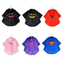 Wholesale 2015 New Kids Rain Coat children Raincoat Rainwear Rainsuit Kids Waterproof Superhero Raincoat DHL free ship