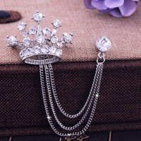 badge crown - High end men s crown brooches British wind suit chain pin badges Individuality female corsage restoring ancient ways