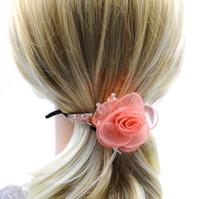 Wholesale Girl Floral Hair Claw with Crystal Rhinestone Flower Hair Accessories Handmade New Fasion Women High Quality Beach Headwear for