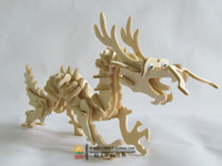 animal construction - New fancy Intelligent educational toy D animal model WOODEN PUZZLE DIY WOODCRAFT CONSTRUCTION KIT Dragon toy P0632