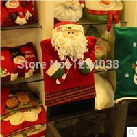Wholesale Top level PC Christmas Themed Chair Cover Santa Claus Overcoat Shaped Dinner Table Decoration For Wedding New Year