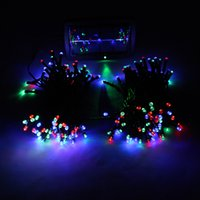 Wholesale 22M LED Red lighting Solar Christmas String Light Wedding Party Garden xmas strips Lights H8987 Green Blue Yellow Red White