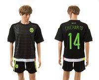 Negro México # 14 Chicharito camiseta de fútbol 2015 Online Hombres camiseta de fútbol de fútbol ropa con la calidad de Tailandia Liquidación Precio en línea caliente de la venta