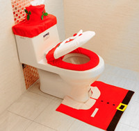 Wholesale 4 Set Xmas Toilet Decorations Santa Toilet Seat Cover and Rug Set Tissue Cover Red Tank Cover MS