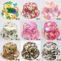Blending flower bucket hats - Free ship baby hats caps girls kid flower summer hats cartoon Canvas fisherman boys bucket caps children accessories colors