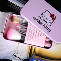 Wholesale Sweet Pink Hello Kitty Cosmetic Brush Set set in Box Makeup Brushes Set Wooden Makeup tool