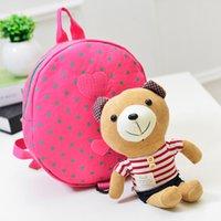 Backpacks baby bag manufacturers - 2015 Brand Fashion Cotton Fabric Cartoon Baby Boy Girl Kids Children School Student Kindergarten Manufacturer Cute Backpack bear school bags