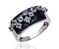 aquamarine fine jewelry - Black Agate amp Aquamarine Solid Sterling Silver Jewelry Womens Fine Rings