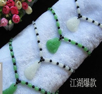 green white jade - wonderful natural green white jade kuanyin buddha pendant beads chain necklace