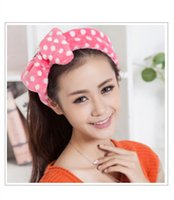 adult hair wave - Korean cute Soft fabric bow wave point princess coral velvet headband wash hair band headband