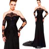 Cheap Off The Shoulder Sheath Black See Through Sheer Party Gown Formal Evening Dress With Long Sleeve Zuhair Murad Vintage Evening Dresses 2014