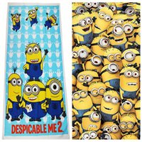 Wholesale 11 color kid minions beach bath towels Despicable Me bathing swim towels cotton printed minions gym fitness towels christmas gift P