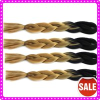 Wholesale Jumbo Braiding Synthetic Hair Extensions with Ombre Two tone Black light brown Kanekalon Jumbo Braid hair