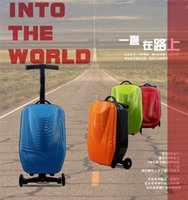 Wholesale New Creative Scooter Suitcase Box inch Stylish Rolling Luggage Hard Travel Trunk with Draw Bar box Trolley Carry on Bag
