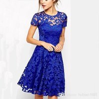 Wholesale Lace dresses boutique women dating girls sexy round neck short sleeve dresses Slim big swing there in cloth S L colors