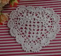 doilies - cotton handmade Crochet Doilies cup mat Crochet Doily Heart cup pad coaster CM a090
