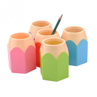 Wholesale 2015 Popular Creative Pen Vase Pencil Pot Makeup Brush Holder Stationery Desk Tidy New Design Container Gift