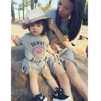 Wholesale 2015 New Summer Style matching mother daughter dresses Short Sleeve Gray Donuts Letter Print Tassel dress family look DP668664