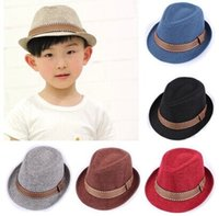 Wholesale 10pcs British Style Children s Jazz Hat Boys and Girls Performing Fedoras Bucket hat Kids Stingy Brim Hat Sun Caps with Bands Colors