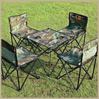 Wholesale Camouflage Pieces The Portable Outdoor Picnic Folding Tables and Chairs Furniture Army Camouflage Convenient Oxford Cloth