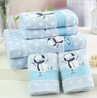 Wholesale 2014 Winter cm Light Blue White Dot Cotton Terry Bath Towels Set Two piece Christmas Snowman Design Foreign Trade Original Single Baby