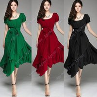 chiffon maxi dresses - 2015 New fashion Women s Maxi chiffon Vintage Short Sleeve Long Ball Party Irregular Evening Dress SV000664