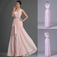 Wholesale Light Pink Prom Dress With Beads One Shoulder Long Chiffon Women Evening Formal Party Gown Available Plus Size