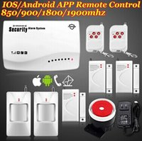 Wholesale IOS Android APP MHz Wireless GSM home PIR alarm Secure system with built in speaker Battery F intercom Security
