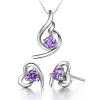 Wholesale Fashion Jewelry Sets Zircon Pendant Womens Joyas De Plata Purple Heart Crystal Earrings Accessories White Necklace T020