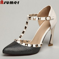 american ladies shoe sizes - plus size thin heels pointed toe high heels shoes cheap rivets buckle european and american style ladies pumps