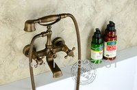 Wholesale And Retail Double Handles Wall Mounted Bathtub Faucet Set Antique Brass W Handheld Sprayer