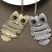 Wholesale New Brand Design Bronze Silver Fashion Lovely Vintage Punk personality Owl Necklace Statement Women jewelry PT31 J1068