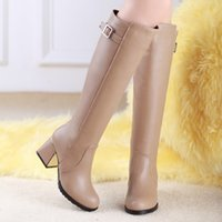 Wholesale Hot Ladies Knight boots Zipper High quality PU High heeled High boots Fashion Thick with Pointed Toes women boots