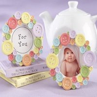 baptism frames - 100pcs quot Cute as a Button quot Round Picture Frame Place Card Holder Baby Baptism Gift Shower Favors