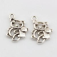 antique bear - Hot Antique Silver Alloy Hollow Bear Charms DIY Jewelry x mm
