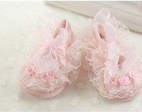 Wholesale baby lace shoes babies girls flower princess shoes kids soft sole first walk shoes toddler infant girl birthday shoes pair size