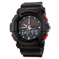 atomic sports watch - Solar Watches Men Clock Resin Atomic Solar Power Watch Time Zone Casual Led Sports Digital Men Wristwatches Relojes SKMEI