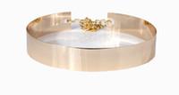 achat en gros de ceintures plaqué or-plaque femmes Agrémentée Or Full Metal Chaîne de taille Mirror Metallic Ceinture Corset 4cm Mode Ceinture de mariage pour les robes
