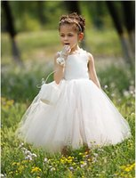 Wholesale Lovely Ball Gown Girl s Pageant Dresses Strap Sleeveless Formal Flower Girls Dresses Ankle Length Pageant Gown