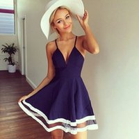 babydoll wear - 2016 Sexy Ladies Blue V Neck Prom Dress Sheer Mesh Insert Babydoll Sundress Plunge A line Nightclub Dress Party wear HMF0316