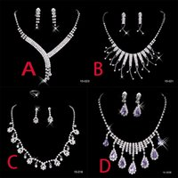 Wholesale 4 In Stock Cheap Shinning Rhinestone Wedding Party Earring Bracelet Necklace Ring Jewel Set