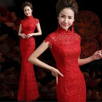Wholesale Classic High Neck Cap Sleeve Zipper Back Floor Length Red Mermaid Wedding Dresses Top Quality Venice Lace Bridal Gowns Chinese