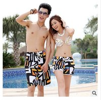 Cheap Wholesale- Top quality New Summer women mens swimming shorts Beach shorts Fashion couple swimwear Summer pants Quick-dry Beach shorts pants