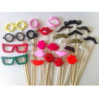 Wholesale Photo Booth Props For Wedding Party POLYMER CLAY Moustache Lips on a stick Decoration Mix Colors